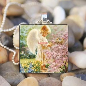 Angel Baby Glass Silver Chain Pendant Necklace